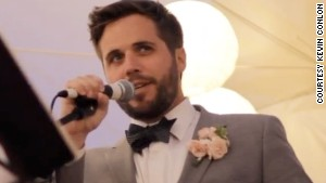 Kevin Conlon delivers a wedding toast.