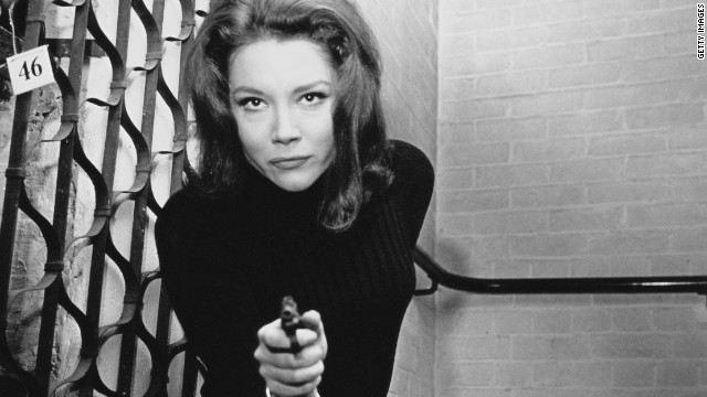 "English actress Diana Rigg plays the kickass spy Emma Peel in the '60s television series ""The Avengers."""