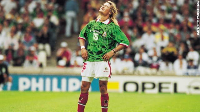 It was enough to have ancient Aztecs turning in their graves. Mexico's jersey for the 1998 World Cup is unforgettable, for all the wrong reasons. Fortunately for stylistically-sensitive observers, the team of star striker Luis Fernandez only lasted four matches in France, before being beaten by Germany in the round of 16.