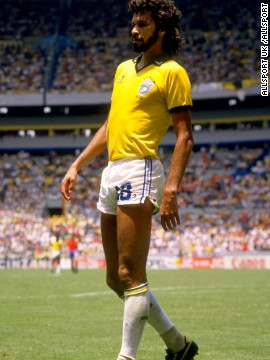 This is Socrates, the late Brazilian libero who oozed cool during his World Cup appearances in 1982 and 1986. An effortless star, he was part of a Brazil team which, although it never won the World Cup, enraptured spectators with its vibrant, captivating attacking play. That said, even Socrates, one of the slickest players to have ever laced up his boots, must have felt a tad insecure patrolling the midfield in shorts which are almost indecent by modern standards.