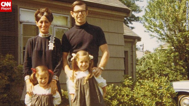 "Check out those matching outfits! <a href='http://ireport.cnn.com/docs/DOC-1119779'>Michelle Jones</a>, bottom left, shared a photo of herself with her sister and their parents in front of their grandmothers' house in Newton, Massachusetts, in 1968. ""I loved the outfits my mom wore -- always the latest fashion, big eyelashes and big makeup."""