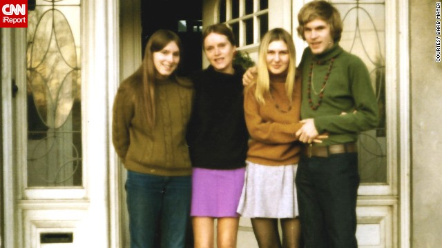 "<a href='http://ireport.cnn.com/docs/DOC-947935'>Barb Mayer</a> (not pictured) shared this 1969 photo of her sister, far left, her mom, her future sister-in-law and her brother. She says she loved 1960s fashion because ""everything was new and exciting, from different hairstyles (longer hair for men, straight hair for women) to Bohemian/ethnic style clothing ... there was a sense of freedom that you could wear just about anything and get away with it."""
