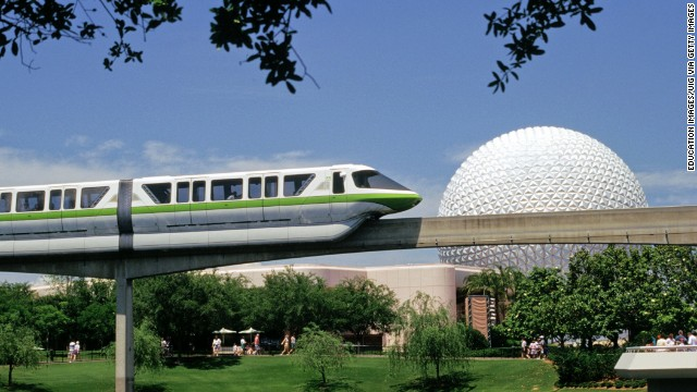 5. Disney's Epcot at Walt Disney World in Florida features the futuristic Spaceship Earth geosphere and monorail, shown here.