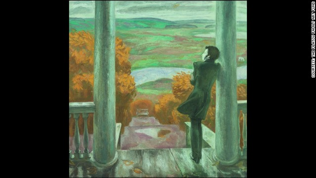 Autumn Rain is one of Viktor Pokov's works based on the life and death of Russian poet and author Pushkin. This image, the exhibitors say, was sketched after Popkov's son dressed in a 19th century outfit and leaned against the door.