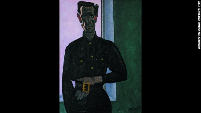 "This painting shows Popkov's ""Chekist"" -- from the Cheka, or secret police -- in a Russian military uniform that had been worn by Stalin and other military figures, the exhibitors say."