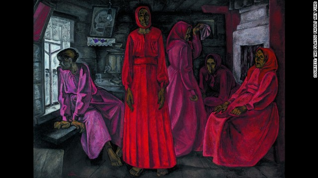 "Memories. Widows, from 1966, is from Popkov's paintings on the women in Mezen, Russia. According to the exhibitors, the portrait of Karl Marx can be seen as showing an ""unquestioning allegiance to state ideology."""