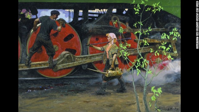 "Spring in the Depot, painted in 1958, is regarded as one of Popkov's ""finest and most lyrical"" works, according to the exhibitors, with a sense of ""controlled optimism."""