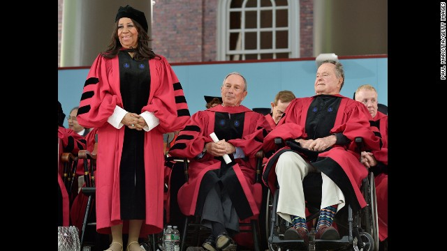 "Michael Bloomberg, center, gave <a href='http://www.cnn.com/2014/05/29/us/bloomberg-harvard-speech/index.html'>the commencement speech at Harvard University on May 29, 2014</a>. Bloomberg, Aretha Franklin, left, and George H.W. Bush, right, also received honorary degrees. ""This spring, it has been disturbing to see a number of college commencement speakers withdraw -- or have their invitations rescinded -- after protests from students and -- to me, shockingly -- from senior faculty and administrators who should know better,"" the businessman and former mayor of New York City said during his speech.<!-- --> </br>"