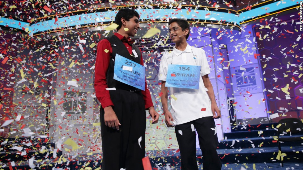 "Ansun Sujoe, left, and Sriram Hathwar became co-champions of the 2014 Scripps National Spelling Bee competition Sujoe spelled the word ""feuilleton"" and Hathwar spelled the word ""stichomythia."" They both spelled their words correctly as they exhausted the words on the bee's list, becoming the first co-champions since 1962."