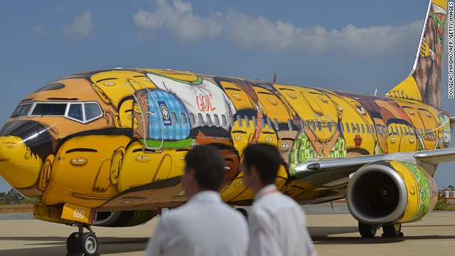 "Low-cost carrier GOL commissioned Brazil's acclaimed artistic duo Os Gemeos to turn the Boeing 737 into a flying canvas. They used 1,200 cans of spray paint to shroud the entire plane, apart from the wings, in a theme of ""Brazilianness, democracy and diversity."""