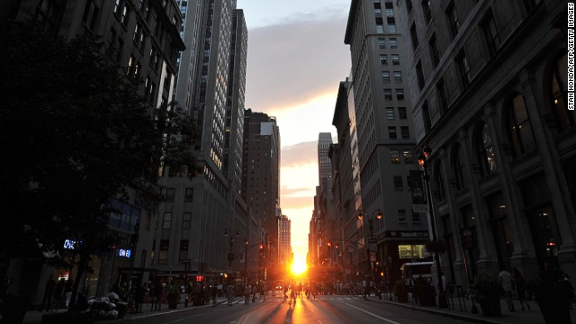 """Manhattanhenge,"" as coined by astrophysicist Neil deGrasse Tyson, occurred on May 29, 2014 in New York. Unfortunately clouds got in the way of the spectacle this year, unlike 2013 (pictured). It's one of four days in the year (the others being May 30, July 11 and July 12) when the sun will set perfectly in line with the city's street grid. Click through the gallery for other spectacular sunsets around the world."