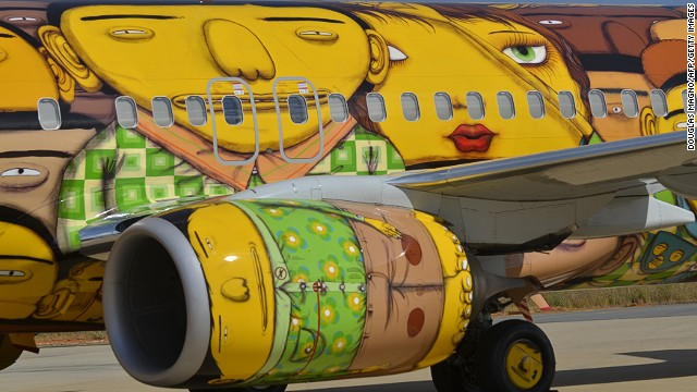 The Brazilian artists Otavio and Gustavo Pandolfo, identical twins, are known for the yellow-skinned characters in their graffiti art.