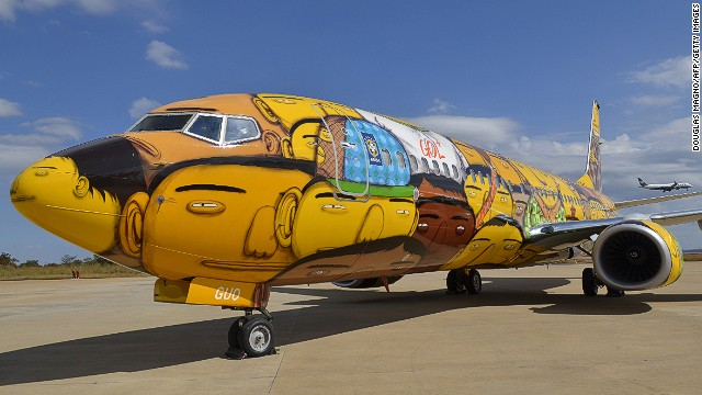 Brazil's hottest graffiti artist duo Os Gemeos was commissioned to design the Brazilian national soccer team's plane for the World Cup.