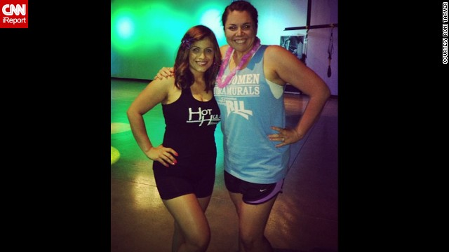 """March 2013: Tarver, right, poses with Zumba instructor Catalina Salas a few months after starting classes. """"An old roommate in college had given me that shirt ... and it was tight on me when I borrowed it. When I noticed how baggy it looked here, I knew I was really making headway in my weight loss journey."""""""