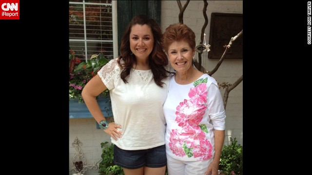 """July 2013: Tarver and her mom, Vicki Crow, who was a full-time teacher and aerobics instructor. """"I had just started being able to purchase clothing in the women's section that was not plus sized. When I tried this shirt on and it fit, and it wasn't an XL, I cried."""""""