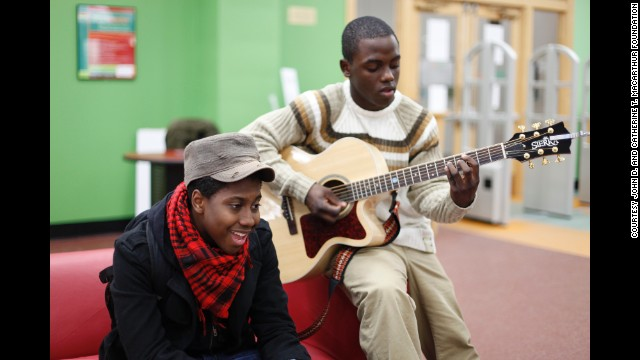 YOUmedia has a studio recording space where teens can use instruments and learn to mix tracks.