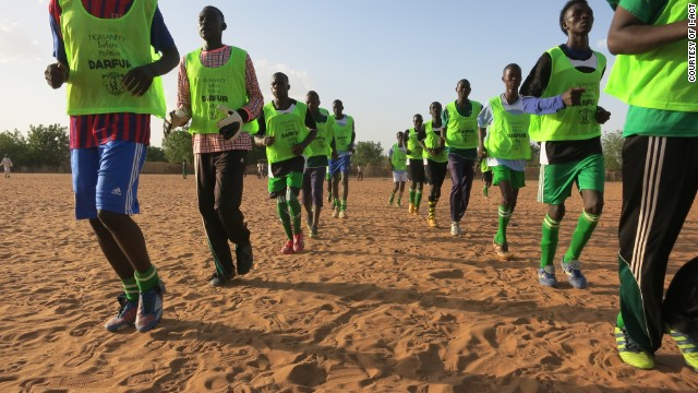 Darfur United is one of 12 teams playing at the ConIFA World Cup. Here the players train in one of the East Chad refugee camps set up after the conflict in Sudan.