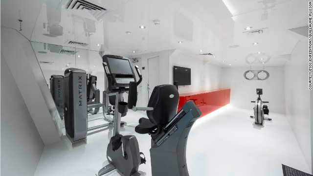 A home away from home, the grand vessel includes a swish gym.