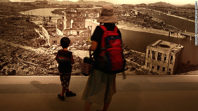 At the Hiroshima Peace Memorial Museum, murals and other graphic displays depict the devastation caused by the bomb.