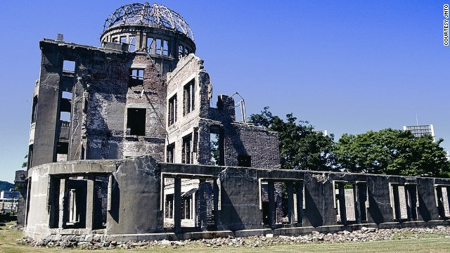 Designed in 1915 by a Czech architect, Hiroshima's Atomic Bomb Genbaku Dome served as the city's Industrial Promotion Hall in 1945. The bomb didn't totally destroy it because the immediate blast and heat buffered the air at ground zero.
