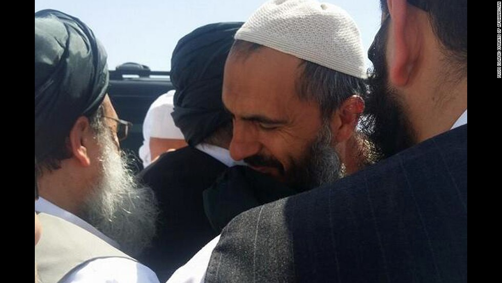 CNN has obtained photos from the purported Twitter account of Taliban spokesman Zabihullah Mujahid. The photos purportedly show the arrival of the Guantanamo detainees arriving in Doha, Qatar, after being released in exchange for U.S. Army Sgt. Bowe Bergdahl. This image allegedly shows Mullah Norullah Noori.