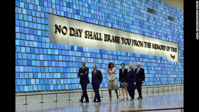 Clinton tours the National September 11 Memorial & Museum in New York with President Barack Obama, former New York Mayor Michael Bloomberg, first lady Michelle Obama and former President Clinton on May 15.
