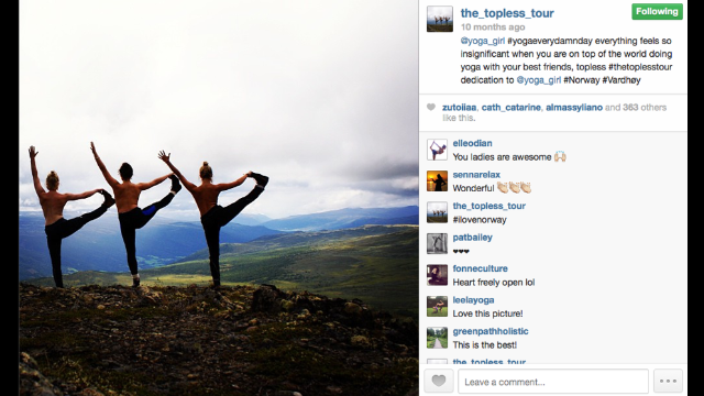 Three friends began documenting their travels by removing their tops and sharing with the world on Instagram.