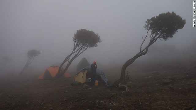 New Shira camp at 3,840 meters above sea level.
