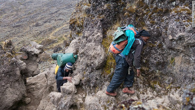 The Great Baranko Wall (also spelled Barranco), a cliff 300 meters high, is one of the most dangerous sections on the mountain. Porters carrying heavy weights on their shoulders struggle to balance on the tiny passages.