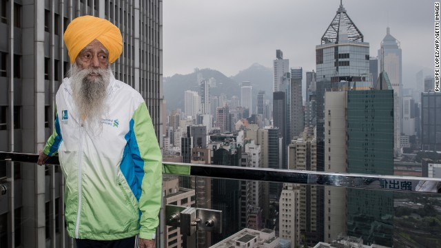 "<a href='http://www.cnn.com/2013/05/09/sport/fauja-singh-marathon-oldest/index.html'>Fauja Singh is recognized</a> as the first 100-year-old to ever run a marathon. The great-grandfather, now 103, continues to run or walk every day. Nicknamed the ""Turbaned Tornado,"" he took up running to overcome his grief after the death of his wife and a son. He ran his first marathon at age 89. The key to life: ""Laughter and happiness,"" he says. ""That's your remedy for everything."""