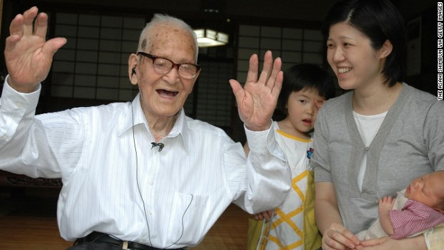 """Jiroemon Kimura was born April 19, 1897, and died June 12, 2013, at the age of 116. The retired Japanese postman attributed his long life to eating light, working in the sunshine and not smoking. After his postal career, he worked on a farm: """"I am always looking up towards the sky; that is how I am."""" Of his six siblings, five lived to the age of 90. He died of natural causes."""
