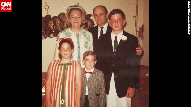 "<a href='http://ireport.cnn.com/docs/DOC-1118004'>Craig Riegelhaupt</a>, the little boy in the red bow tie, recalls taking this ""nerdy family"" photo when his parents moved them from New York to Florida in 1967. ""The bows in my mother's and sister's hair, and my red bow tie and horn-rimmed glasses epitomize the look of the 1960s."""