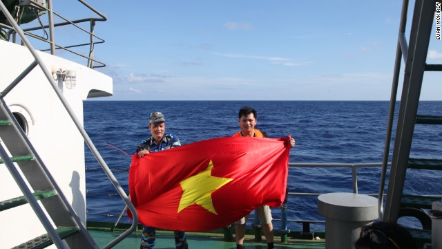 Vietnamese journalists and crew aboard CG 8003 show their allegiances.