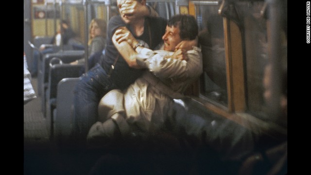 "Mazzer recalls this fight, which he photographed around 1981, as starting after the man in braces obstructed the underground doors. The other man politely asked him to let the doors shut, but, as Mazzer's book details: ""'Braces' harangued him with finger in face, very aggressive,"" not realizing the other man ""was a black belt and about to rip him apart.""'"