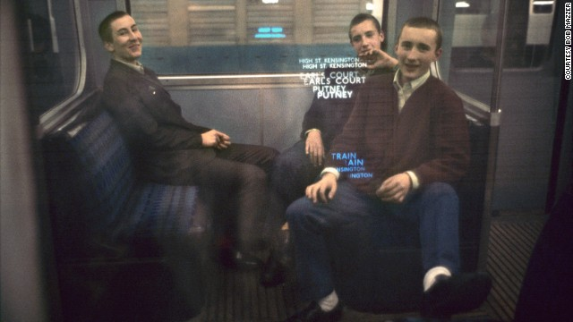 """Mazzer likes this """"lads"""" image as it flips what could have been seen as a threatening group into a friendly one. """"They were the tail end of the mods,"""" Mazzer says. """"I poked the camera at them and they just beamed at me, and what can you do, you have to photograph them."""""""