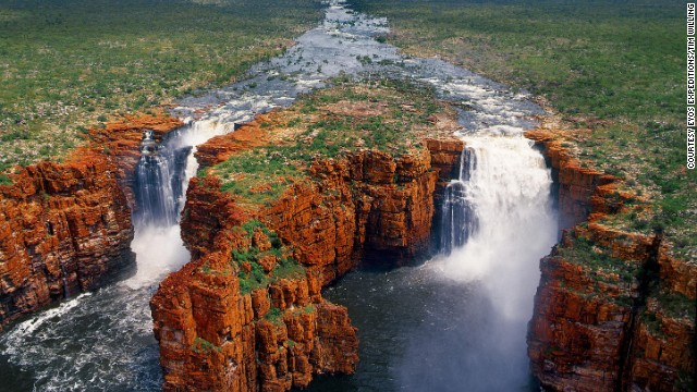Tours to Australia's far north Kimberley region include breath taking terracotta-colored landscapes, and the thundering King George Falls.
