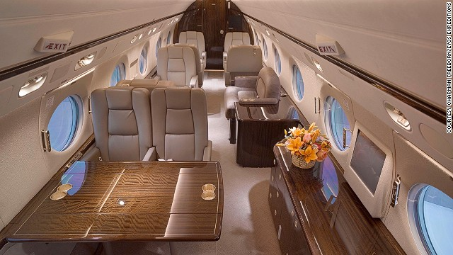 Inside, the jet is as luxurious as the superyacht it's taking you to.