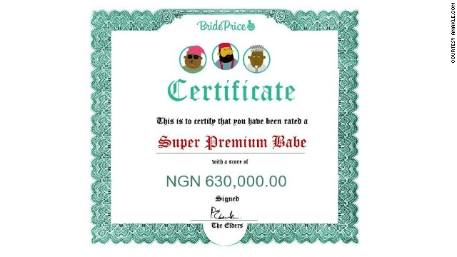 Bride Price: the app that calculates your worth and gi