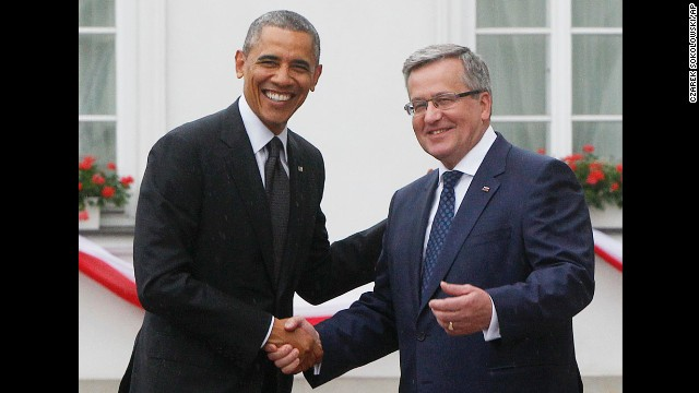 "Komorowski welcomes Obama at his residence in Warsaw on June 3. Obama hailed Poland as ""one of our great friends and one of our strongest allies in the world."""