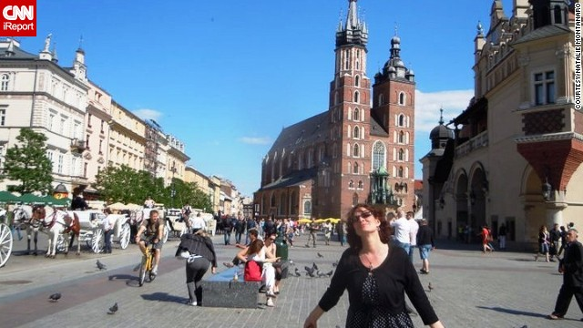 "<strong>5. Krakow's Market Square:</strong> Natalie Montanaro thinks <a href='http://ireport.cnn.com/docs/DOC-1135629'>Market Square</a> is ""one of the best places to have a great day, rain or shine."" Browse the stalls for ""all kinds of handmade goods and Polish jewels like amber,"" and come hungry, said Montanaro."