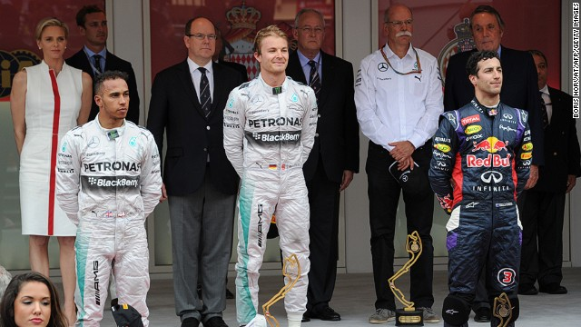 Smiles were also in short supply on the podium after Rosberg (center) held off Hamilton to win and retake the lead in the 2014 championship.