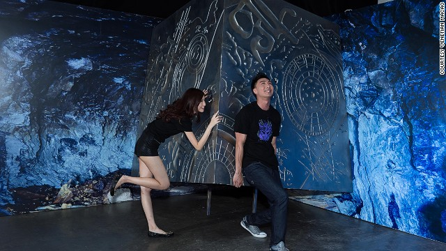 "Silly poses are mandatory in front of the main source of Energon, the ""life-blood"" of the Transformers. There's probably never been a better venue to try out some robot dance moves."