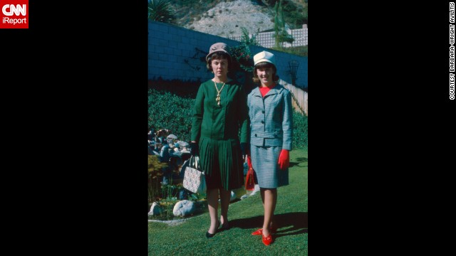 "<a href='http://ireport.cnn.com/docs/DOC-1139587'>Barbara Wright-Avlitis</a> is proud of this fashionable photo from September 1965. It was taken for a mother-daughter formal luncheon. Her aunt provided the clothes so she might fit in at the ""rather exclusive high school"" she ended up attending. ""Most of the girls who went to the school were rich and from upper-class families but my family was a pretty average middle-class bunch. We weren't used to putting on airs or hobnobbing with celebrities. In fact, we were pretty nervous about the whole thing because mom wanted to make me proud and I just wanted to blend in."""