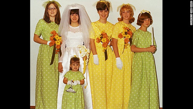 <a href='http://ireport.cnn.com/docs/DOC-1119574'>Onie Ward'</a>s older sister married her high school sweetheart in November 1969. Ward, second from right, and her mother made all the dresses pictured.
