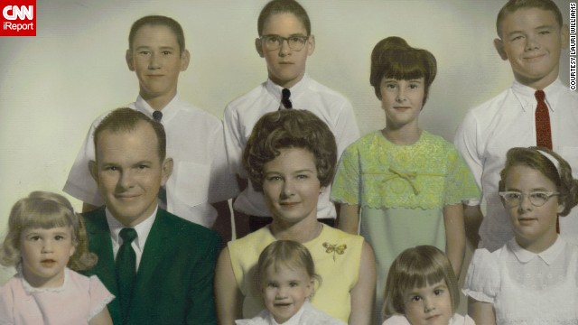 <a href='http://ireport.cnn.com/docs/DOC-1120078'>Lauri Williams</a>, bottom row, second from right, shared this photo of her family when she was 3 years old in Channelview, Texas. The photo, taken on Easter in 1968, is somewhat bittersweet; it was the next-to-last family photo taken before her parents divorced.