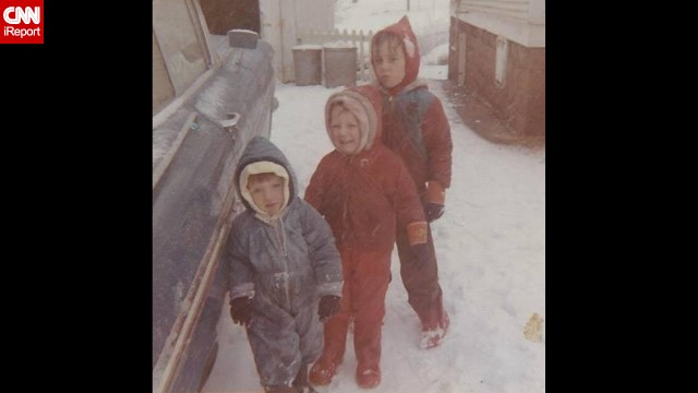 """This wintry scene in Ballwin, Missouri, in 1967, came from <a href='http://ireport.cnn.com/docs/DOC-1137807'>Carol Bock</a>, front, who said her mother would put bread bags on their feet to keep them warm. """"I remember playing in the snow and throwing snowballs,"""" she said. """"I never liked it when my brothers threw the snowballs back at me."""" (Click the double arrows for more photos.)"""