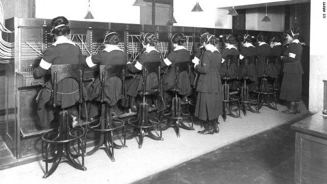 """Hello Girls"" at work. The U.S. Army trained more than 400 female telephone operators to serve in France and England for the Army Signal Corps. These women were bilingual, speaking French and English."