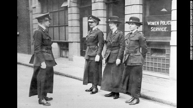 Mary Sophia Allen inspects policewomen in London in May 1915. Before the war, Allen had been imprisoned three times for her activism as a suffragette. She turned down an offer of wartime service with a Needlework Guild to become the second in command of the Women Police Service.