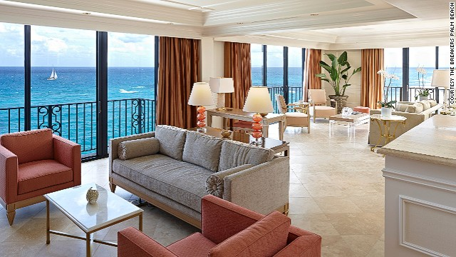 Design duo Badgley Mischka lent their signature Hollywood glamor to the Imperial Designer Suite at The Breakers Palm Beach. The 1,700-square feet suite features five balconies with ocean views.