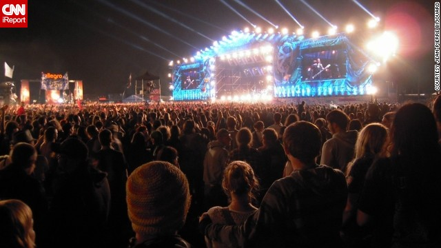 """<strong>15. Przystanek Woodstock:</strong> Jean-Pierre Bijouard enjoys Poland's <a href='http://ireport.cnn.com/docs/DOC-1139563'>Przystanek Woodstock</a>, a massive open-air music festival in the town of Kostrzyn Nad Odra. Woodstock, inspired by the famous 1969 festival of the same name, is """"a huge crowd of music lovers meandering through an ephemeral city, going to and coming from the three main stages to vibrate to the rhythms of international rock music,"""" said Bijouard."""